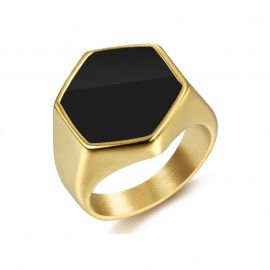 Black Hexagon Signet Titanium Steel Ring in Gold