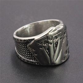 Royal Flush Poker Stainless Steel Ring