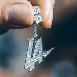 """Iced """"LA"""" Asymmetric Earrings in White Gold"""