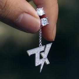 "Iced ""TX"" Asymmetric Earrings in White Gold"
