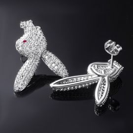 Iced Upside Down Bunny Earrings in White Gold