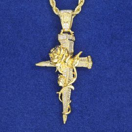 Iced Rose Cross Pendant in Gold