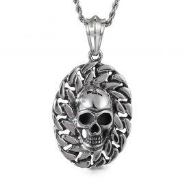 Gothic Skull emboss cuban link chain Titanium Steel pendant