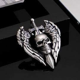 Vintage Skull Sword Wings Titanium Steel Pendant