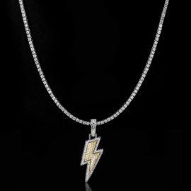 3mm Tennis Chain + Lightning Bolt Pendant Set in White Gold
