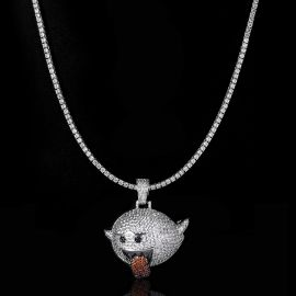 3mm Tennis Chain + Flying Ghost Pendant Set in White Gold