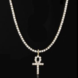 5mm Tennis Chain + Ankh Pendant Set in Gold