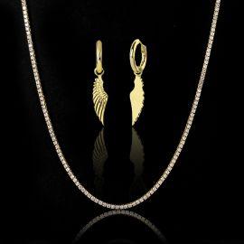 3mm Tennis Chain + Angel Wings Earrings Set in Gold