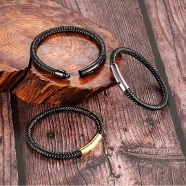 Men's Braided Leather Bracelet with Gold Magnetic Clasp
