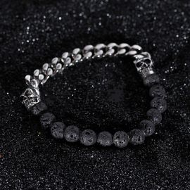 Half Spirtual Stones and Half Steel Cuban Chain Skull Bracelet in White Gold