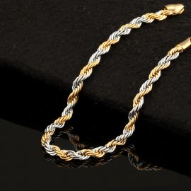 3.5mm Gold & Silver Two-Tone Rope Barcelet