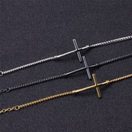 3.4mm Cross Titanium Steel Franco Bracelet