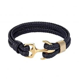 Black Braided Leather Gold Anchor Bracelet