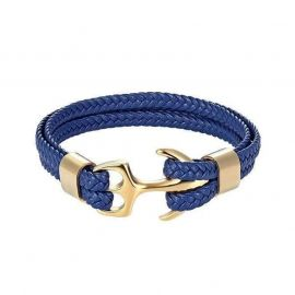Blue Braided Leather Gold Anchor Bracelet