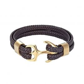 Coffee Braided Leather Gold Anchor Bracelet