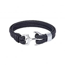 Black Braided Leather White Gold Anchor Bracelet
