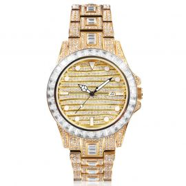 Baguette & Round Cut Luminous Dial Alloy Watch in Gold