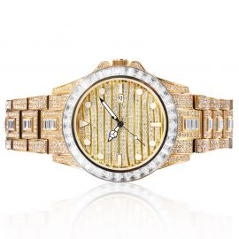 Baguette & Round Cut Luminous Dial Watch in Gold