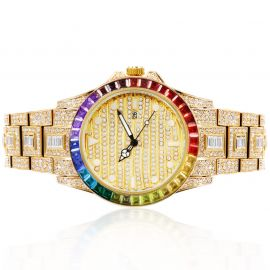 Rainbow Baguette Luminous Dial Watch in Gold