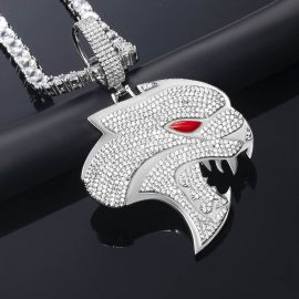 Iced Gaint Roaring Panther Head Pendant in White Gold