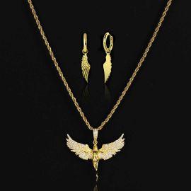 Iced Angel Pendant + Angel Wings Earrings Set in Gold