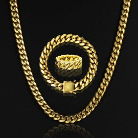 10mmStainless Steel Cuban Chain Set + 10mm Cuban Ring in Gold