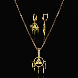 Egyptian Pyramid Eye of Horus Pendant and Earrings Set in Gold