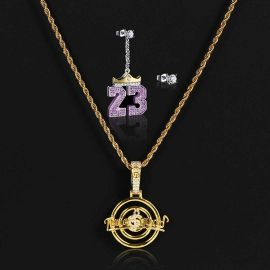 "Music Symbol Pendant + Crown ""23"" Asymmetric Earrings Set"
