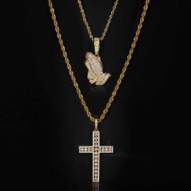 Iced Praying Hands Pendant + Cross Pendant Set in Gold