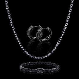 5mm Black Stones Tennis Chain Set + Huggie Earrings Set
