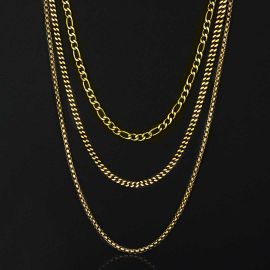 5mm Stainless Steel Cuban Chain + 5mm Figaro Chain + 2.5mm Franco Chain Set in Gold