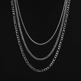 5mm Stainless Steel Cuban Chain + 5mm Figaro Chain + 2.5mm Franco Chain Set in White Gold