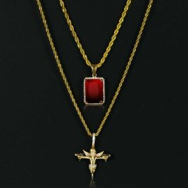 Iced Death Angel Pendant + Cube Pendant Set in Gold