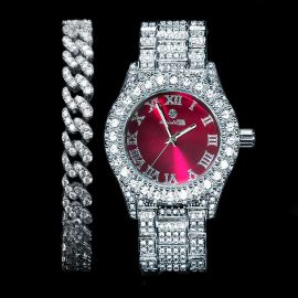 Iced Roman Numerals Red Dial Men's Watch + 8mm Cuban Bracelet Set in White Gold
