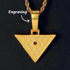 Iced Egyptian Pyramid Eye of Horus Pendant in Gold