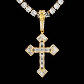 Baguette Stones Christian Cross Pendant in Gold