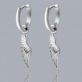Angel Wings Earrings in White Gold