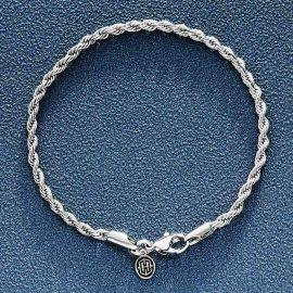 3mm Rope Bracelet in White Gold