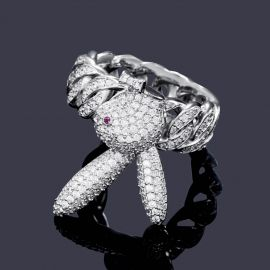 Iced Upside Down Bunny Rings in White Gold