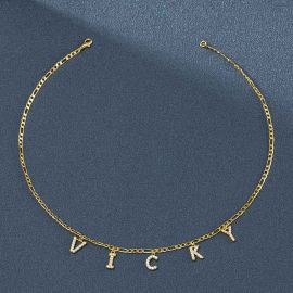 Custom Iced Name Letters Figaro Necklace