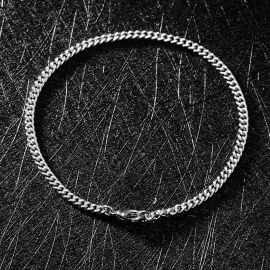 3mm Cuban Bracelet in White Gold