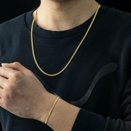 3mm Cuban Link Chain Set in Gold