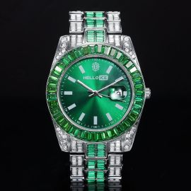 Baguette Cut Green Dial Two-tone Datejust Alloy Watch