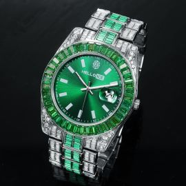 Emerald Bezel Date Display Men's Watch in White Gold