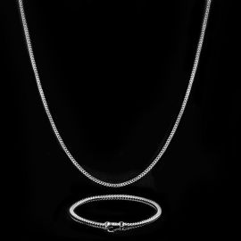 3mm Cuban Link Chain Set in White Gold