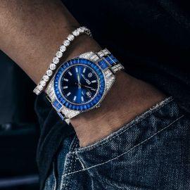 Baguette Cut Sapphire Dial Two-tone Datejust Alloy Watch