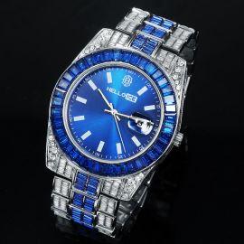 Sapphire Baguette Cut Date Display Men's Watch in White Gold