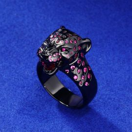 Roaring Purple-Red Stones Leopard Ring in Black Gold