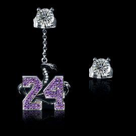 """Black Snake """"24"""" Asymmetric Earrings in White Gold"""