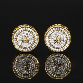 Three-Pointed Star Pave Diamonds Stud Earring